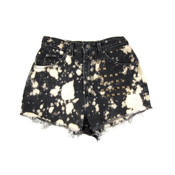 Studded 25W Black Splatter Shorts