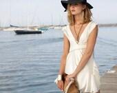 FASHION NINJA swan top Asymmetrical ivory off white satin v neck gathers pleats romantic
