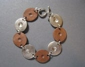 Gaming Pieces Mixed Metal Silver and Copper Bracelet