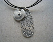 Sale: Small Gaming Pieces Oxidized Fine Silver Necklace on Leather Cord
