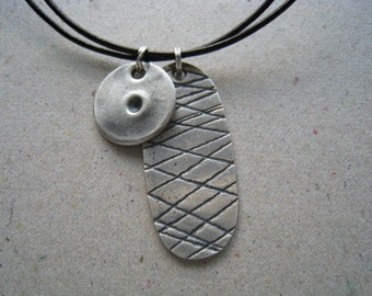 Small Gaming Pieces Oxidized Fine Silver Necklace on Leather Cord
