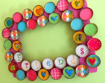 Friends Butterflies and Hearts Bottle Cap Picture Frame