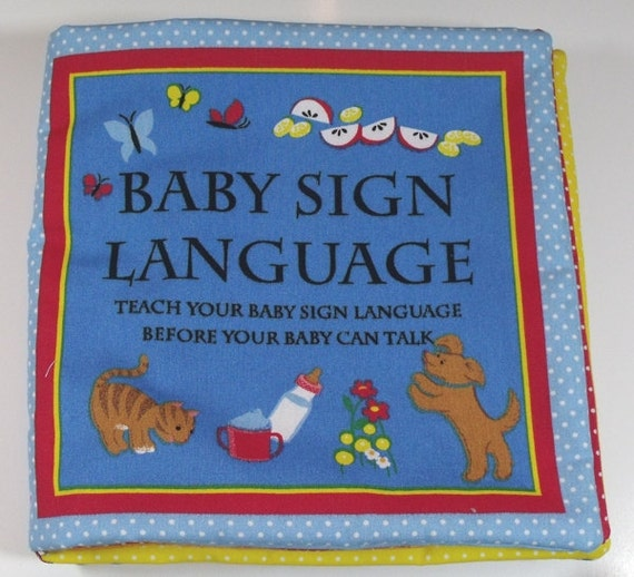 Children S Fabric Book Cover : Baby sign language fabric children s book