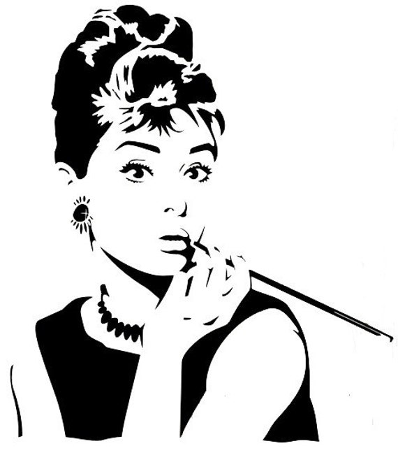 Items similar to Audrey Hepburn Pop Art/Silhouette Decal ...
