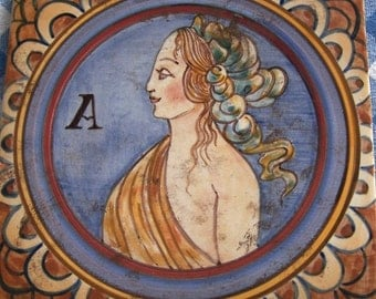 Hand Painted Ceramic Majolica Tile - Noble Woman