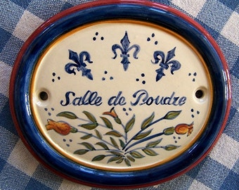 """Ceramic Hand Painted Majolica Bathroom Door Sign (5"""" wide by 4"""" tall)"""