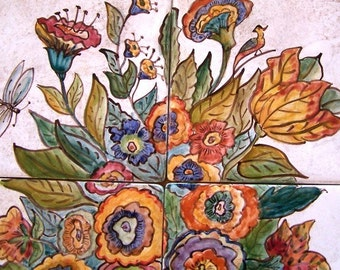 Hand Painted Large Urn Mural