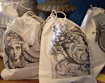 Set (6) drawstring Cotton Bags