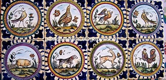 Italian Renaissance Ceramic Maiolica 6x6 Inch Tiles 8