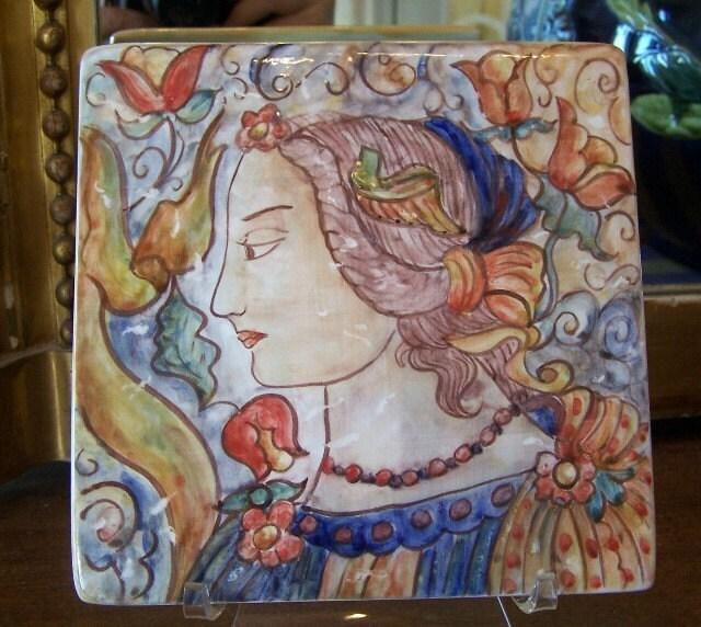 Hand painted ceramic maiolica tile - Hand painted ceramic tile ...