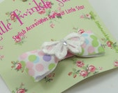 bow hair clip with lace flower