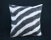 Hand felted  merino zebra  print pillow (2)
