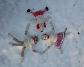 Snow Angels with Sock Monkeys and Raggedy Ann Postcard