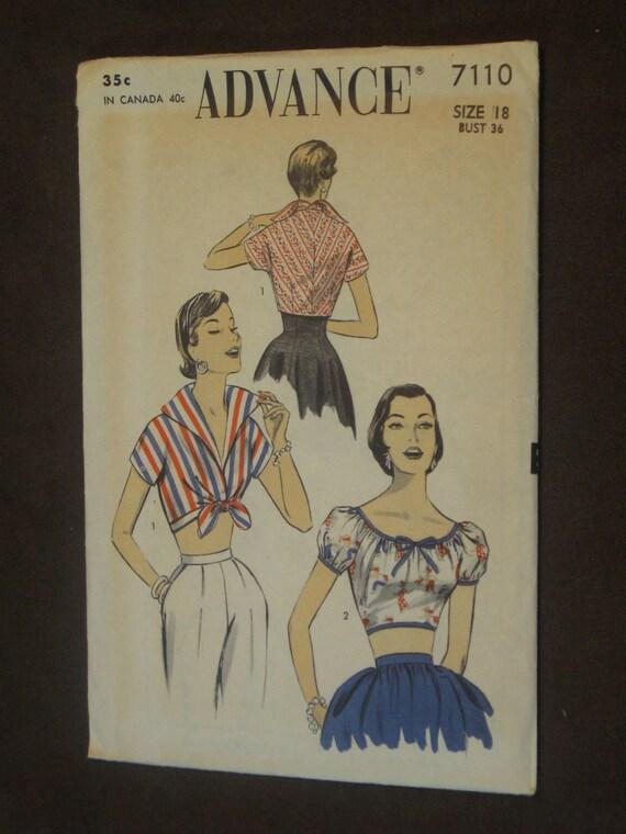 Scandalous Vintage Women's Blouse Pattern: Advance 7110
