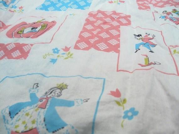 Mother goose nursery rhymes vintage fabric yardage for Retro nursery fabric