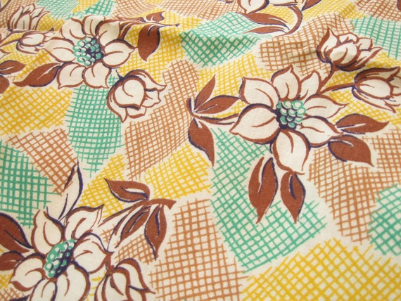 30s Feed sack Vintage Fabric Yardage Yellow and Brown Floral Design