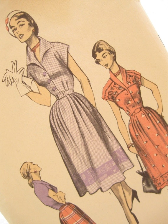 Vintage Women's Day Dress Sewing Pattern: Advance 5733, Bust 36