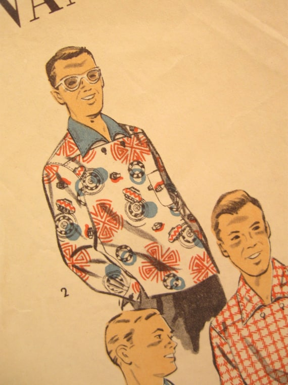 Men's 50s Shirt Vintage Sewing Pattern: Advance 7105