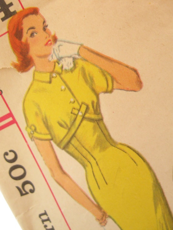 50's Vintage Wiggle Dress Sewing Pattern: Simplicity 1834, Bust 36