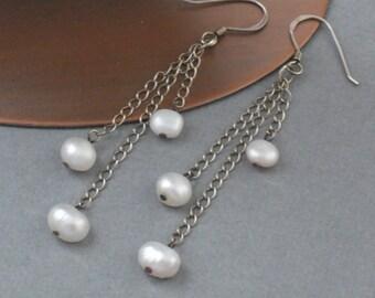 Earrings White Freshwater Pearls Cascade Sterling Silver Chain Drop Dangle Earrings