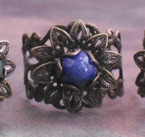 Ring Oxidized Brass Filigree Lapis Lazuli Fancy Jasper Gemstone Adjustable Ring