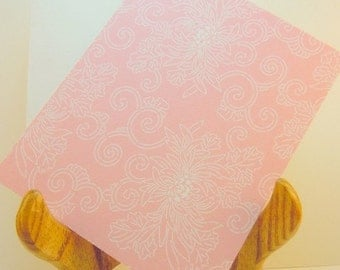 Peony patterned Set of 8 blank flat note cards