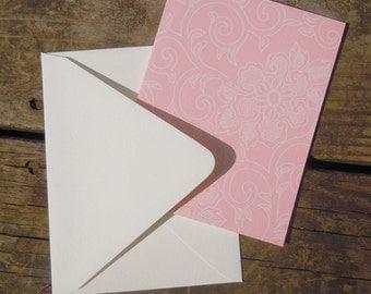 Chrysanthemum patterned Set of 8 blank flat note cards