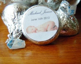 Baby Boy Hershey Kiss Birth Announcement Stickers