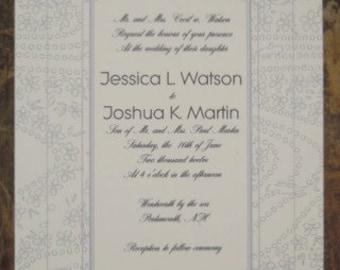 Navy and Lavendar Wedding Invitation Sample