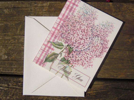 Set of 8 Blank Lilac Thank You Cards