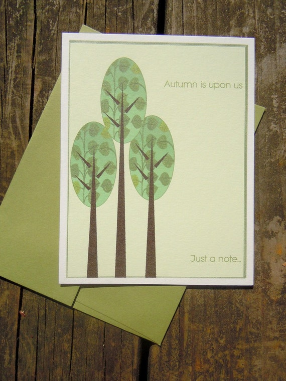 Flat note cards for Autumn Set of 8 blank