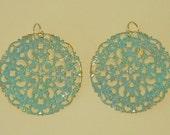 Aqua Patina and Gold Filigree Earrings