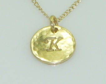 Initial Pendant, Hammered Finish, Gold Personalized Pendant