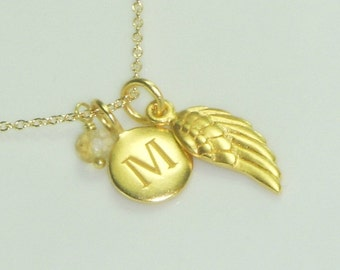 Initial and Birthstone Necklace adorned with a Gold Angel Wing Charm