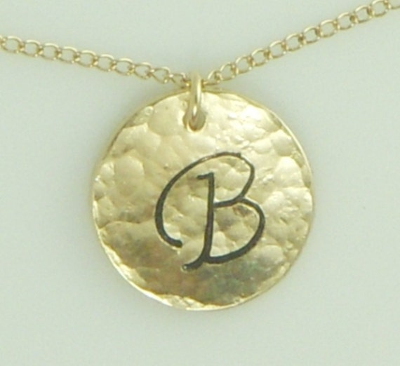 Hammered Gold Disc Necklace with a Custom Initial