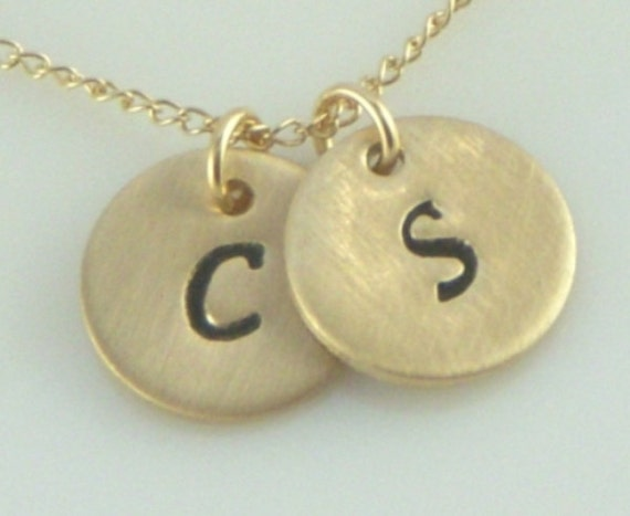 Two Disc Custom Initial Necklace in Gold