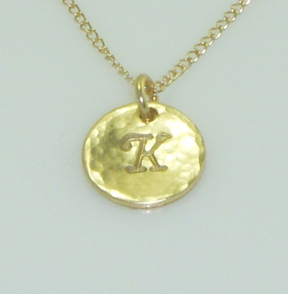 Small Hammered Disc Gold Necklace adorned with a Custom Initial-Elegant Print