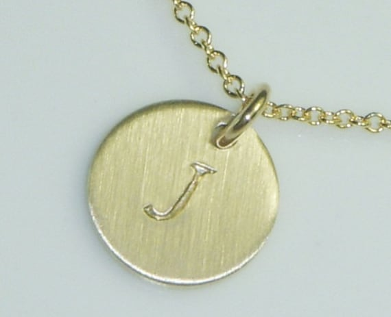 Gold Initial Necklace-Simple Print Monogrammed Disc