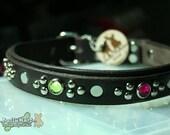 "Custom Dog Collars - 1"" wide - MOONSHINE LUX XL - Jeweled and Studded Leather - Extra Large Necks, Mastiffs, Bordeaux, Bulldogs"