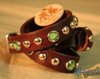 "SALE - Designer Leather Dog Collar - 3/4"" wide - JADE'S JEWEL - Studded and Crystal Jeweled Dog Collar"