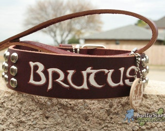 "Custom Leather Large Dog Collar - 1.5"" or 2"" wide - ALPHA VIVID CUSTOMn'STUD - Personalized Custom Carved Dog Collar Leather"