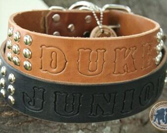 "SALE - Custom Dog Collar - 1.5"" wide ALPHA STAMPn'STUD - Personalized Studded Leather Dog Collar"