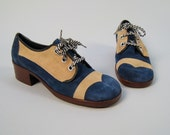 SALE SALE SALE Vintage 1970s deadstock lace-up blue suede oxfords with chunky heel, sz. 6.5