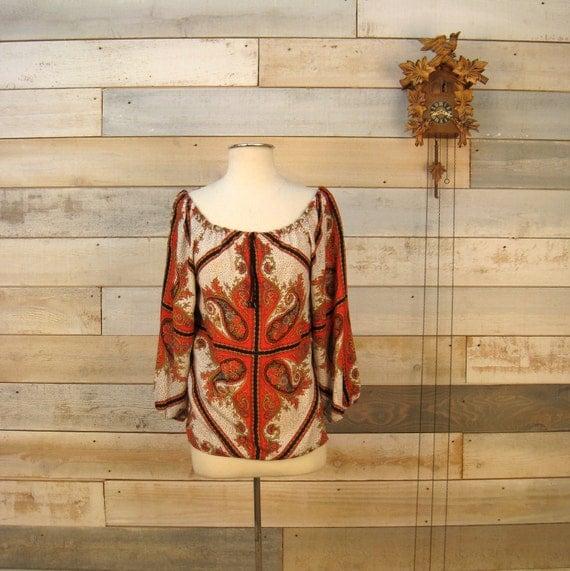 SALE SALE SALE  Vintage 1970s paisley print blouse w/ drawstring neck