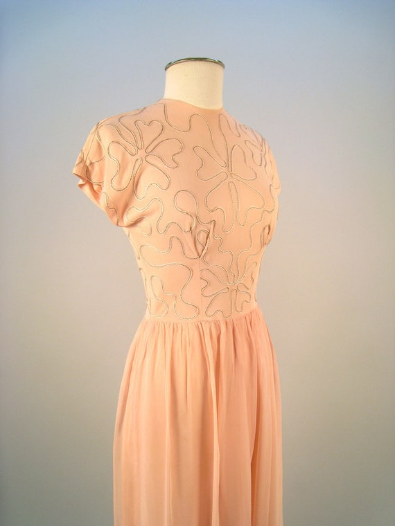 Vintage 1950's pink evening dress with chiffon skirt