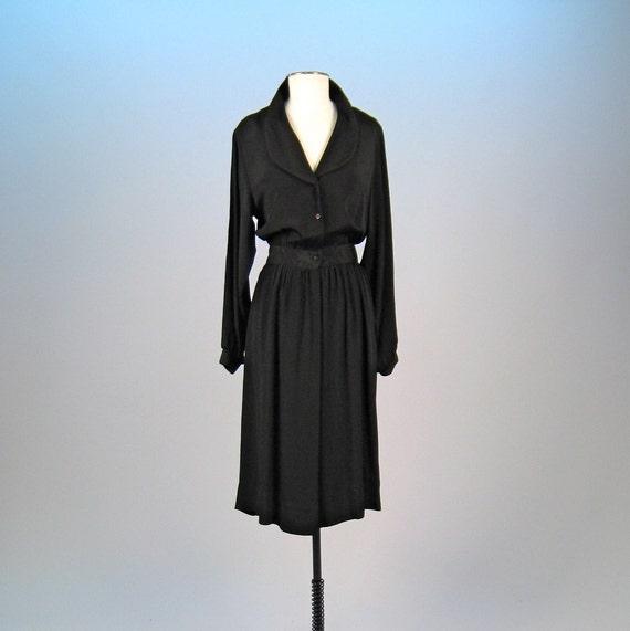 Vintage 1980s LANVIN paris black silk crepe dress