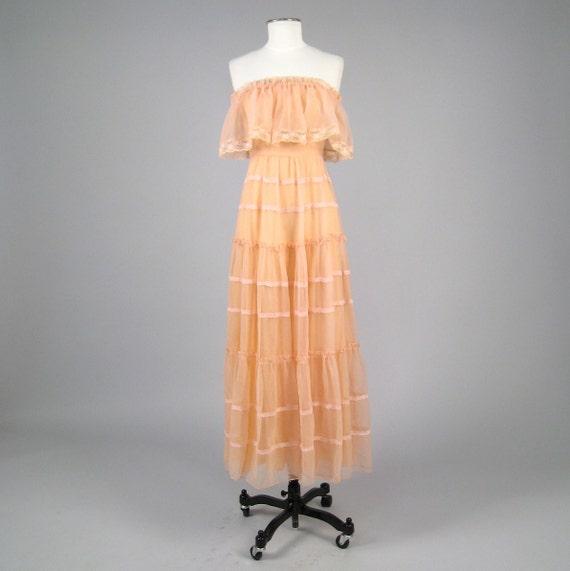 Vintage 1970s peach layered chiffon maxi dress