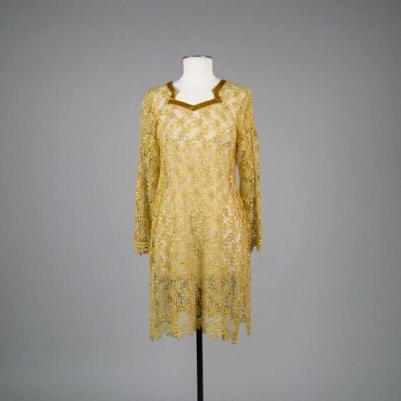 Vintage 1960s gold crochet sheer shift dress