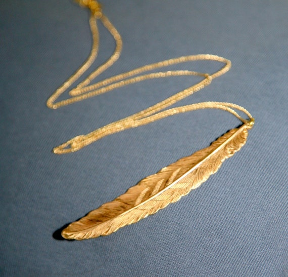 Big Brass Feather Pendant Necklace
