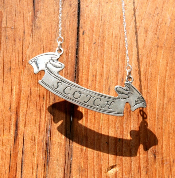 Vintage Liquor Tag Nameplate Necklace in Sterling Silver - Engraved - Scotch -